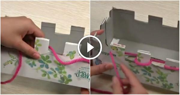 bufanda hecha con una caja